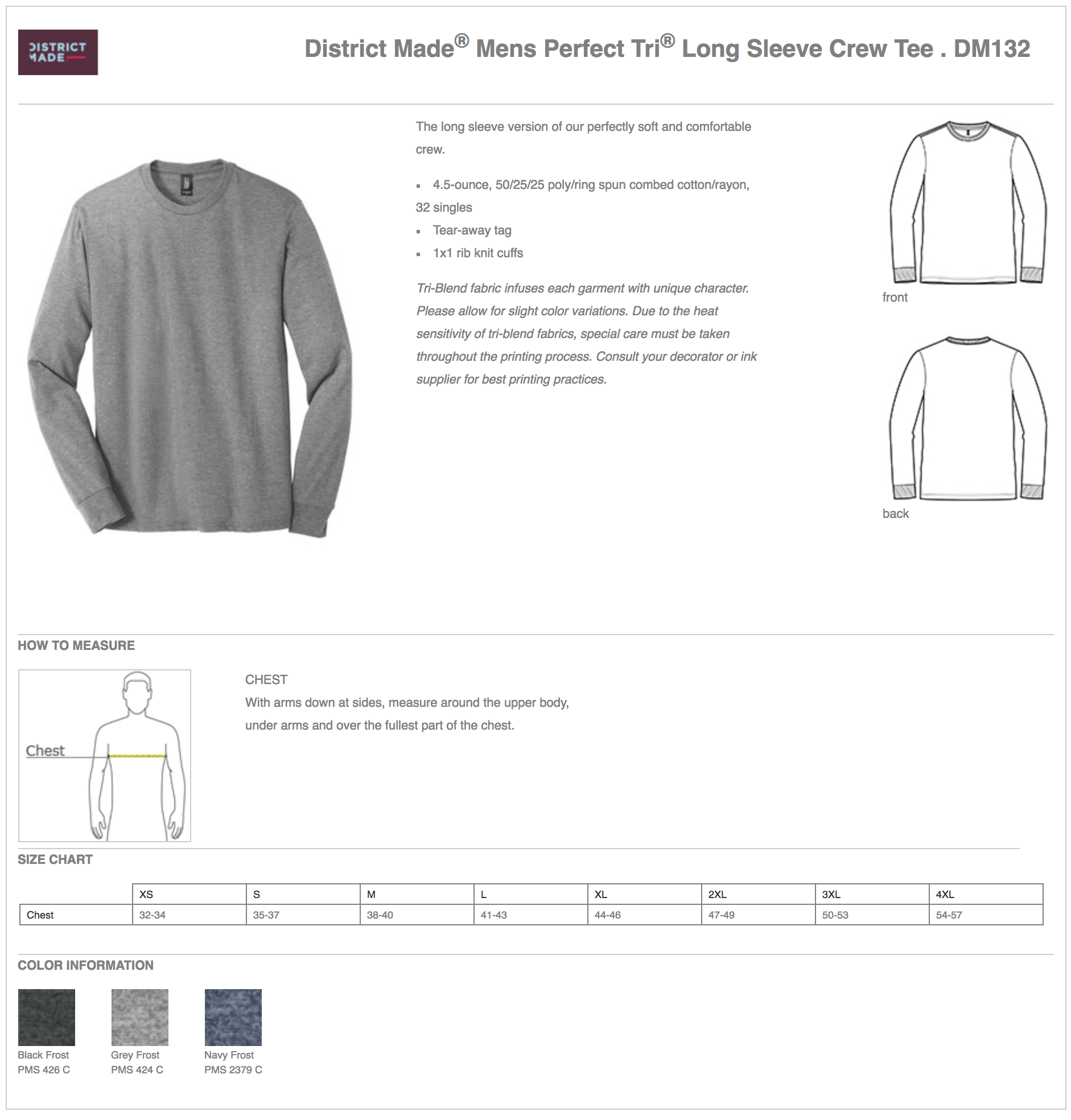 District Made DM132 Long Sleeve Custom T-Shirts