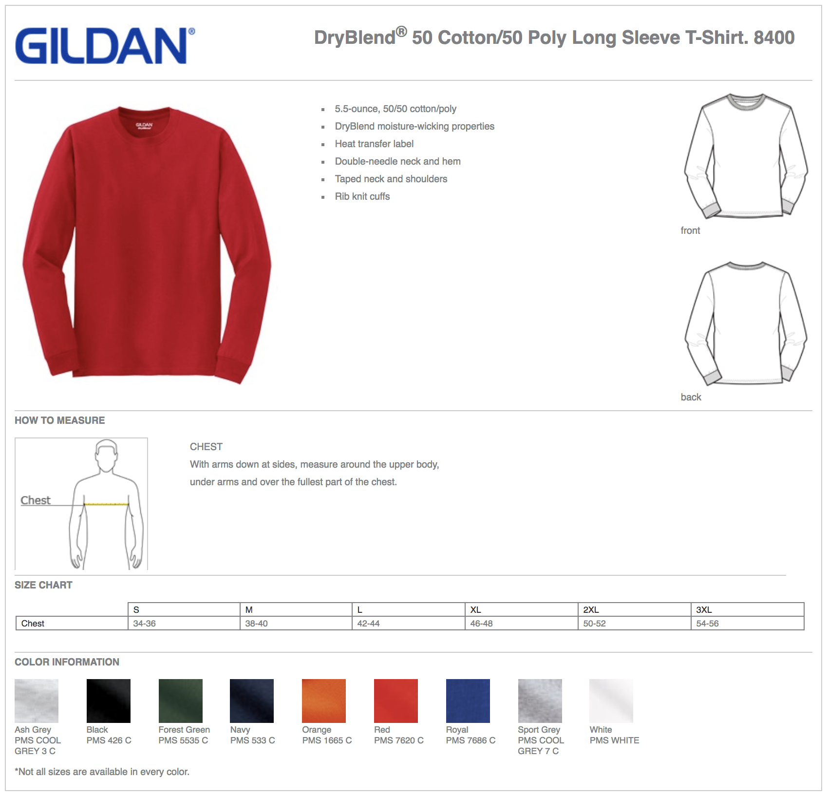 Gildan 8400 Custom Long Sleeve T-Shirts