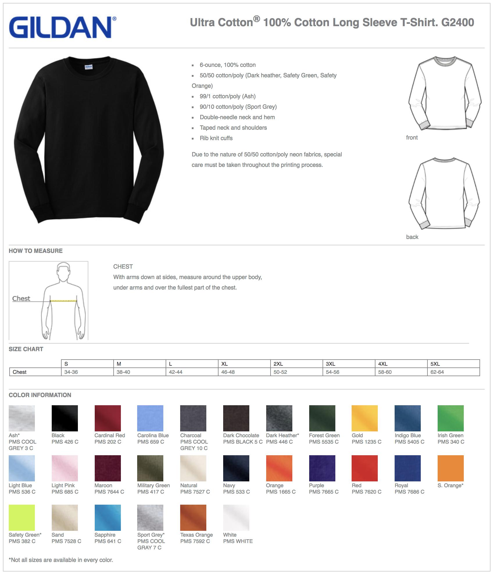 Gildan 2400 Custom Long Sleeve T-Shirts